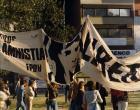 """Pancarta """"No a la amnistía""""del Frente por los Derechos Humanos"""